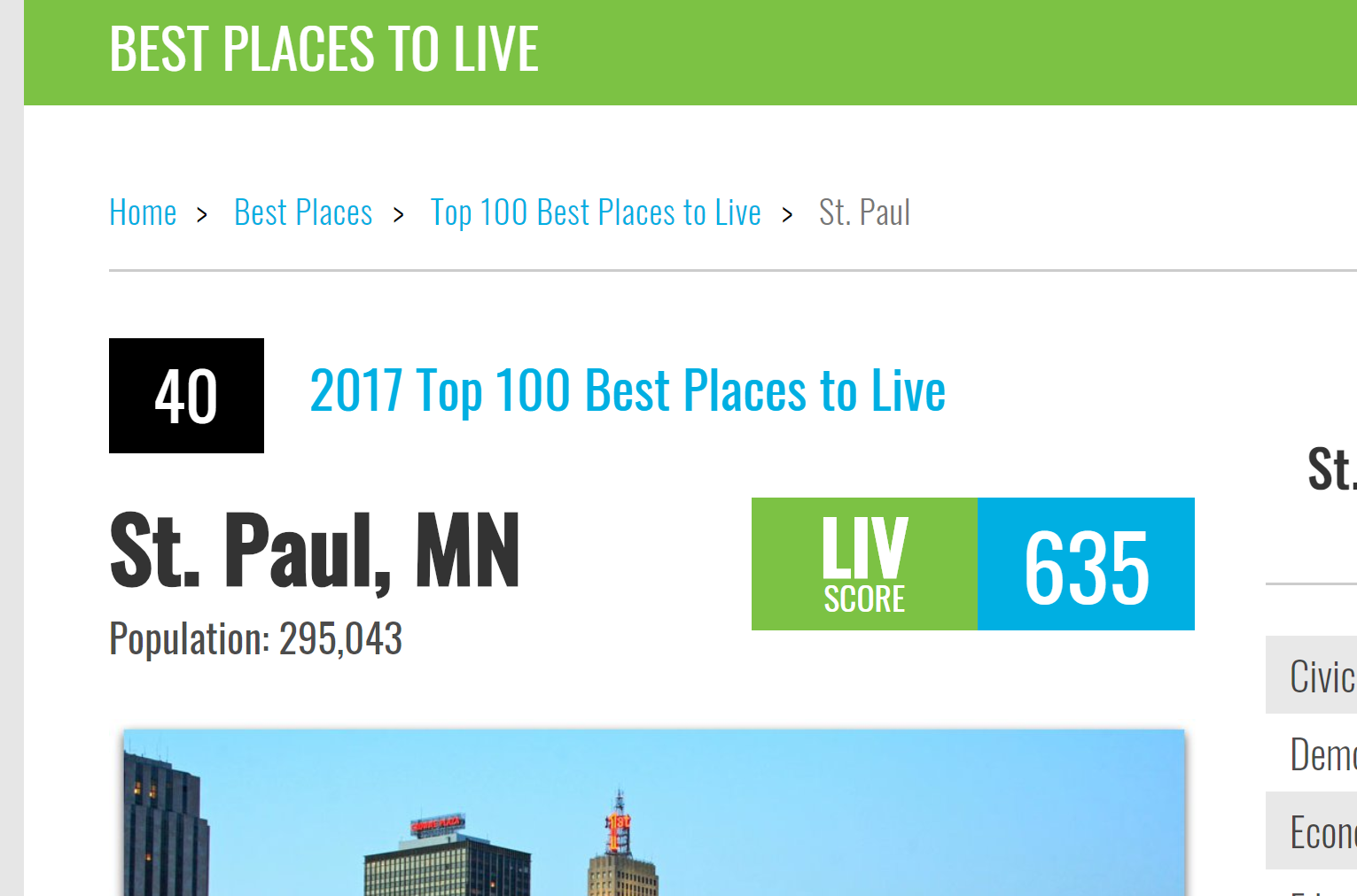 PNG St Paul MN Livability Top 50 places to live in US